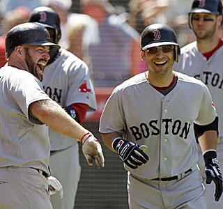 Kevin Youkilis, who adds a homer, celebrates with Marco Scutaro following his grand slam.  (AP)