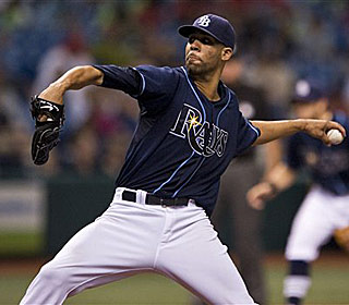 David Price strikes out nine as he matches the club record for wins in a season. (AP)