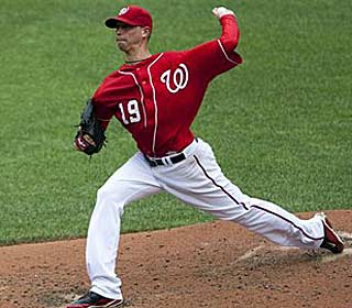 Scott Olsen took Stephen Strasburg's roster spot on the Nationals, giving up two earned runs in six innings. (AP)