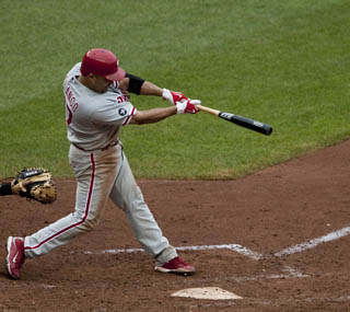 Placido Polanco hits the decisive single to defeat the Nationals in the 11th inning. (AP)