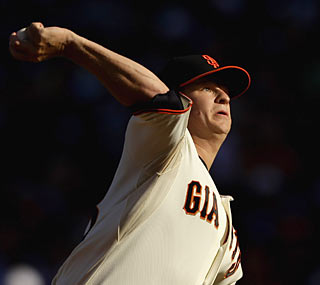 Matt Cain throws 7 2/3 scoreless innings of four-hit ball to help him finally down the Dodgers. (Getty Images)