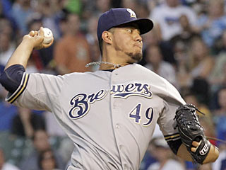 Yovani Gallardo ties his season high with 12 strikeouts as the Brewers take out the Cubs. (AP)