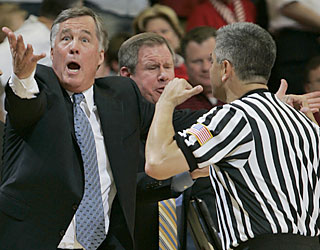 Watching Cal get upset isn't what Mike Montgomery had in mind in his return to Maples Pavilion.  (AP)