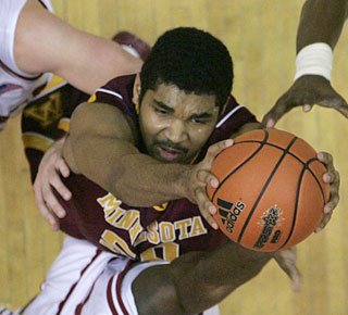 Ralph Sampson III contributes 13 points to Minnesota's first win at Bloomington in five years.  (AP)