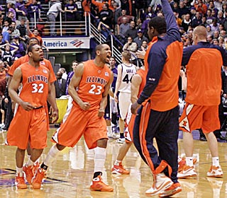 Demetri McCamey (32) and Dominique Keller (23) are fired up after the comeback win.  (US Presswire)