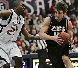 Matt Bouldin drives his way to a 21-point performance as Gonzaga improves to 18-5.  (AP)