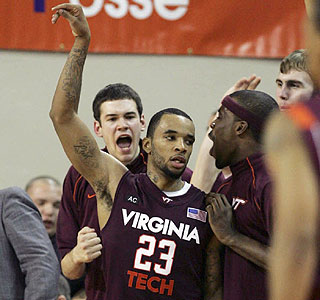 Celebration time: Virginia Tech's tournament hopes are still alive after Malcolm Delaney's 26 points.  (AP)