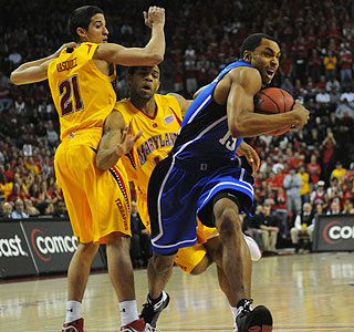 Gerald Henderson muscles his way to 19 points as Duke shuts down Maryland in College Park.  (US Presswire)