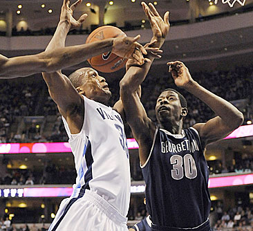 Villanova's Dante Cunningham finds his path blocked.