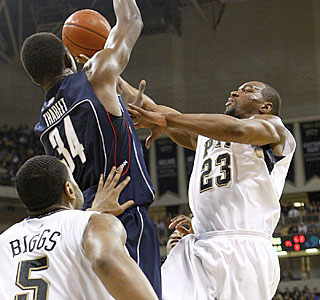 Sam Young tries to get a shot past UConn's shot-blocking terror, Hasheem Thabeet.  (Getty Images)