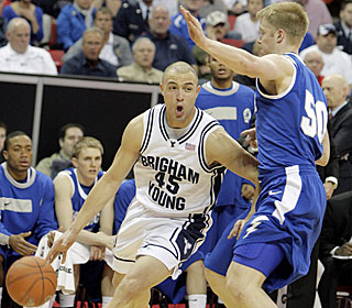 Jonathan Tavernar, who scores 19 points, has his game face on during BYU's fifth straight win.  (AP)