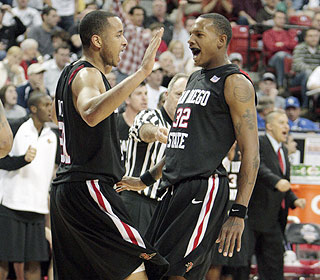 What a ride for the Aztecs. The win pushes them to 23-8 with a solid chance at the NCAA tourney. (AP)