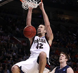 Take that: Josh Heytvelt slams home two of his 22 points in the Gonzaga victory.  (Getty Images)