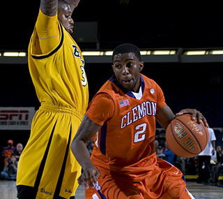 Clemson's Demontez Stitt scores 16 points and dishes out five assists to pace the No. 19 Tigers.  (AP)