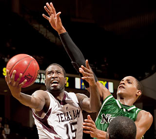 The Aggies get a lift from senior guard Donald Sloan, who scores a game-high 21 points.  (AP)