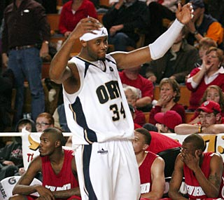 ORU's Kevin Ford enjoys another marquee win for a team that's already beaten Stanford and Missouri.  (AP)