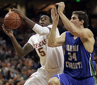 Though Damion James rips down 10 boards, Texas is outrebounded by Texas A&M-Corpus Christi. (AP)