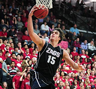 Gonzaga's Matt Bouldin spoils the party in Santa Clara with this game-sealing layup.  (US Presswire)