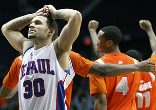 Will Walker scores 21 points for DePaul but can't hit a potential game-winning trey. (AP)