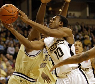 Ishmael Smith, who scores the winning bucket, surpasses 1,000 career points for the Deacons.  (AP)