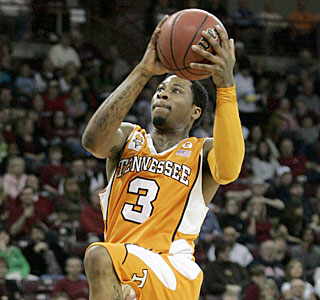 Bobby Maze has a clear path to the hoop on the way to scoring two of his Vols-high 14 points.  (AP)
