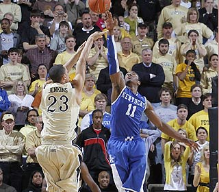 No dice. John Wall blocks a John Jenkins shot that would have given Vanderbilt the lead. (Getty Images)
