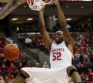 Ohio State's Dallas Lauderdale dunks for two of his 14 points, tying his career high.  (AP)