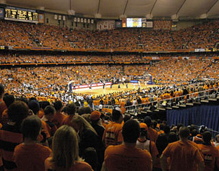 Syracuse provides quite a show in front of an NCAA on-campus attendance record of 34,616 fans.  (AP)