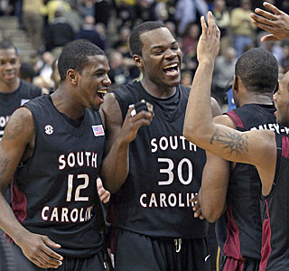 South Carolina celebrates the end of a losing streak and its second victory over a top 15 team.  (AP)