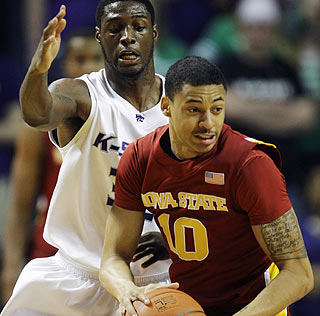Diante Garrett is key in overtime, scoring five points to help Iowa State upset Kansas State.  (AP)