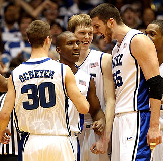 Jon Scheyer, Nolan Smith, Kyle Singler and Brian Zoubek combine for 73 of Duke's 82 points in the victory.
