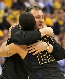 Joe Mazzulla and the Mountaineers adore their coach. (Getty Images)