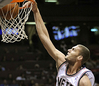 Brook Lopez overpowers the Thunder's frontcourt, putting up 31 points and 13 rebounds.  (AP)