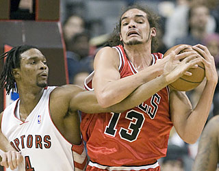 Joakim Noah and the Bulls finish on top for just their fifth road win of the season.  (AP)
