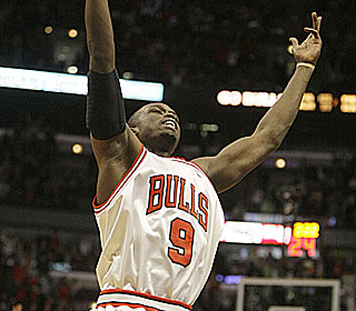 Luol Deng has reason to celebrate after pouring in 22 points in the Bulls' unlikely win.  (AP)