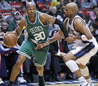 'It was a group effort, and a four-quarter effort,' says Ray Allen, who scores 25 in the blowout.  (AP)