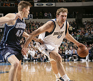 Dirk Nowitzki cannot be contained, hitting 16 of 20 shots from the floor.  (Getty Images)