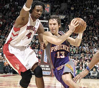 Steve Nash is in a giving mood in Toronto, dishing out a season-high 18 assists.  (Getty Images)
