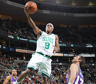 It's smooth sailing for Rajon Rondo, who cruises in for two of his 23 points.  (Getty Images)