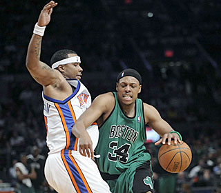 Paul Pierce keeps the Knicks on their toes, shooting a scorching 8-for-13 from the field.  (AP)