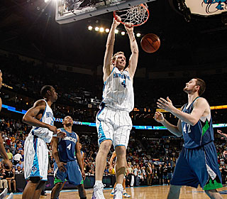 Sean Marks dunks two of his career-high 18 in the Hornets' second straight win.  (Getty Images)