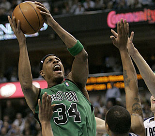 Paul Pierce's furious finish helps Boston head into the break with the most wins in the NBA.  (AP)