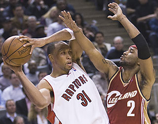 Shawn Marion plays a team-high 40 minutes in his Raptors debut, but finishes with just 10 points.  (AP)
