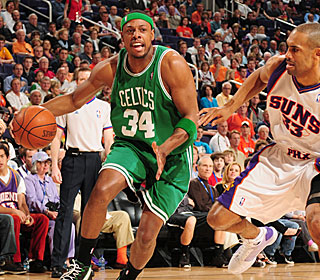 Paul Pierce scores 26 points in his 44 minutes of work for the short-handed Celtics.  (Getty Images)