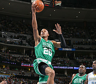 Ray Allen and the Celtics cruise to a 60-37 halftime lead in their blowout win.  (Getty Images)