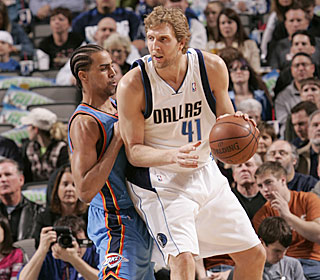 Dirk Nowitzki lights up the Thunder, notching his fourth 40-point game this season.  (Getty Images)