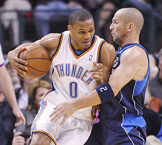 Russell Westbrook carries his short-handed Thunder by tabbing his first career triple-double.  (AP)