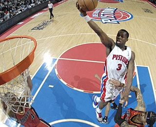 Rodney Stuckey scores 12 of his 14 points in the first half for the surging Pistons.  (Getty Images)