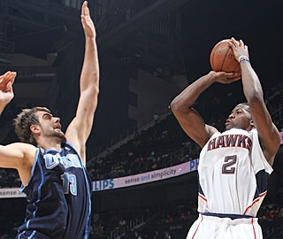 Atlanta's Joe Johnson (2) scores 21 of his game-high 31 points in the first half. (Getty Images)