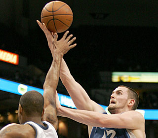Rookie Kevin Love continues his strong play, dropping 22 points and seven rebounds.  (AP)